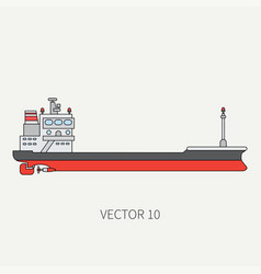 Line flat color icon container cargo ship vector