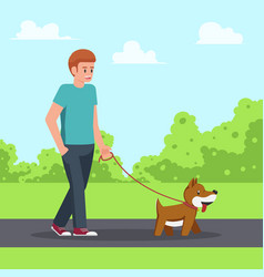 man walking with his dog in garden vector image