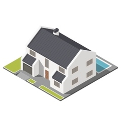 Modern two-story house with slant roof sometric vector
