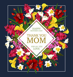 Mother day thank you card with spring flower frame vector