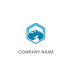 Mountain landscape polygon logo vector