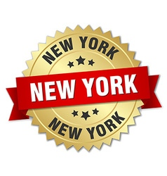 New York round golden badge with red ribbon vector image
