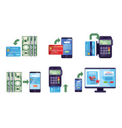 online banking collection payment methods vector image