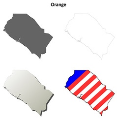 Orange County California outline map set vector