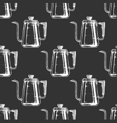 Pattern with coffee kettle vector