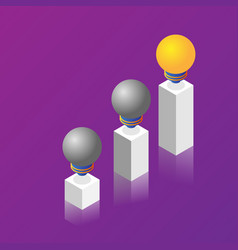 pillars of light bulb idea isometric vector image
