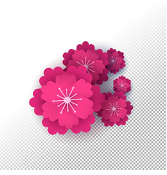 Pink paper cut flower set on isolated background vector