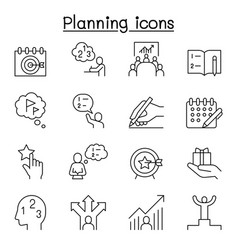 Planning strategy schedule icon set in thin line vector