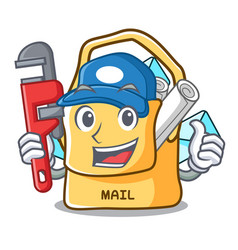 Plumber mail bag character on table front vector
