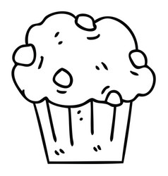 quirky line drawing cartoon chocolate muffin cake vector image