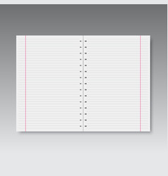 realistic spiral lined and red line notebook vector image