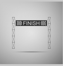 Ribbon in finishing line icon on grey background vector
