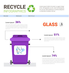 Rubbish container for glass waste infographic vector