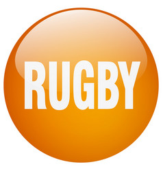 Rugby orange round gel isolated push button vector