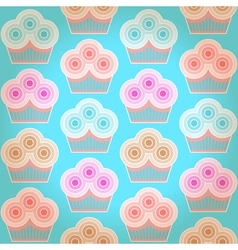 Seamless geometric background with cupcakes vector