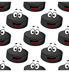 Seamless pattern of a cartoon hockey puck vector image