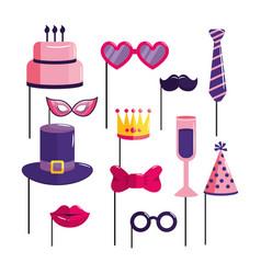 Set happy birthday decoration event vector