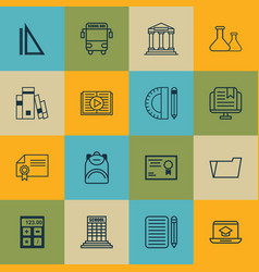 Set of 16 education icons includes haversack vector