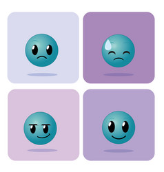 set of emojis on squares icons vector image