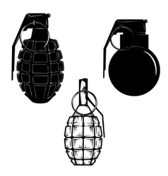 Set of hand grenades isolated on white background vector image