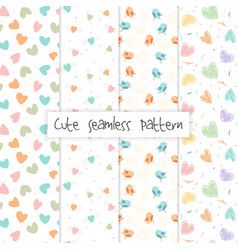 set of seamless love pattern usefull how vector image