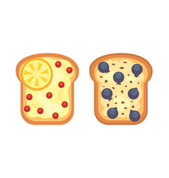 Set toasts and sandwich breakfast bread toast vector