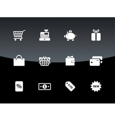 Shopping icons on black background vector image