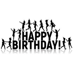 silhouettes letters children happy birthday vector image