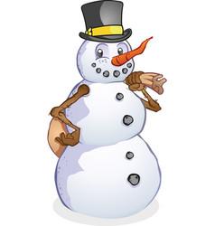 Snowman with santas sack cartoon character vector