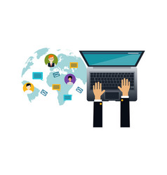social media network human hands with laptop top vector image
