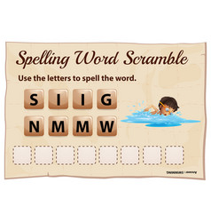 Spelling word scramble game with word swimming vector