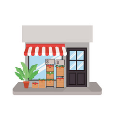 Store with tent and vegetables inside boxes vector