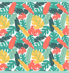summer and autumn color tropical leaf hand vector image