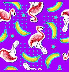 summer seamless bright pattern with flamingo vector image