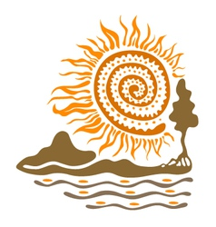 Sun mountains and river vector