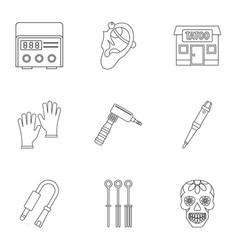 Tattoo salon equipment icon set outline style vector