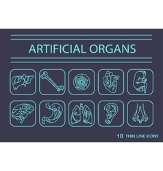 Thin line icons - artificial organs 2 vector image