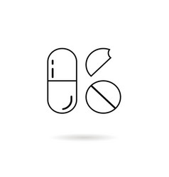 thin line pills with shadow vector image