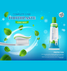 Toothpaste toothbrush and mint leaves poster vector
