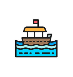 traditional thai tourist boat flat color line icon vector image