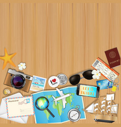tropical travel object set on wood board vector image