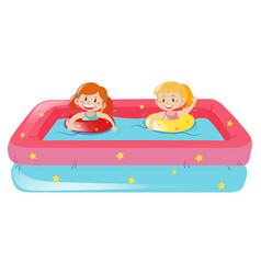 Two girls swimming in small pool vector