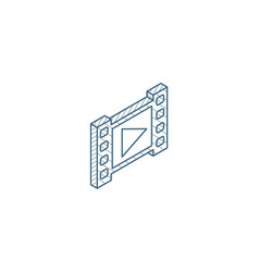 video frame isometric icon 3d line art technical vector image