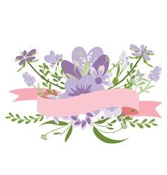 Vintage purple flowers Cute floral bouquet vector