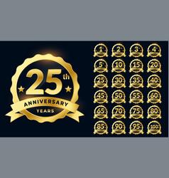 Wedding anniversary golden badge label logotype vector