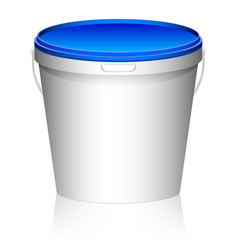 white plastic set bucket with blue lid product vector image