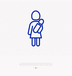 woman holding baby in hands thin line icon vector image