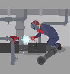 worker welds large metal pipes at basement vector image