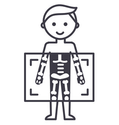 x-raymedical diagnostics man line ico vector image