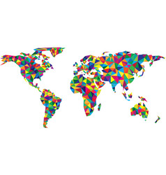 colorful geometric abstract world map vector image